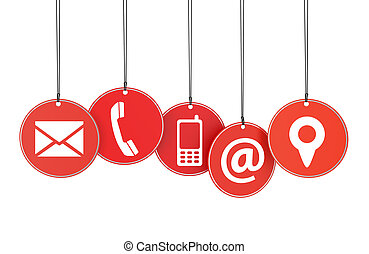 Website and Internet contact page concept with icons on red hanged tags isolated on white background.