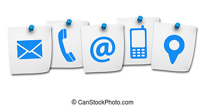 Website Contact Us Icons On Post It - Website and Internet...