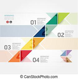 website, czuć się, styl, używany, układ, wektor, nowoczesny, kwestia, /, albo, chorągwie, infographic, projektować, liczbowany, szablon, infographics, graficzny, cutout, poziomy, minimalny, może