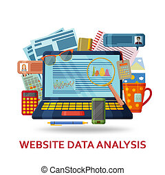 Website data analysis background. Laptop with infographic elements and abstract contents