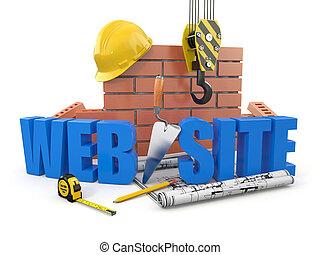 website, de bouw., kraan, muur, en, tools., 3d