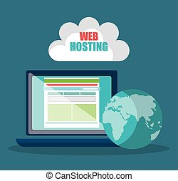 Website design and hosting, vector illustration graphic