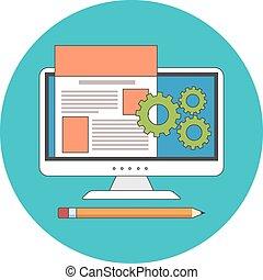 Website design, development concept. Flat design.