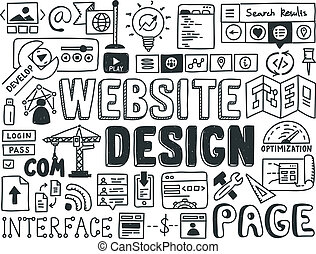 Hand drawn vector illustration icons set of website design and user interface programming doodles elements. Isolated on white background