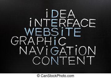 website, design, kreuzworträtsel, auf, tafel