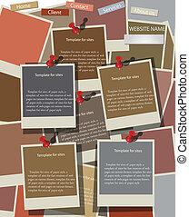 Website design template on instant photos. Vector