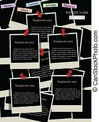 Website design template with instant photos. Vector ...