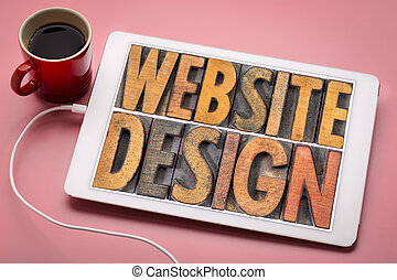 website design word abstract on tablet