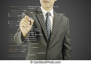 website development - programmer writing CSS code