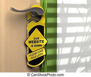 website down written onto a yellow door hanger, informative ...
