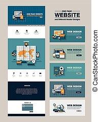 website, egyszerűség, egy, tervezés, sablon, oldal