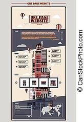 website, eins, design, wolkenkratzer, schablone, reizend, seite