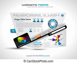 website, -, elegant, complex, ontwerp, mal