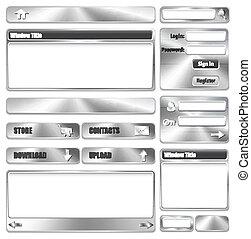 website, elemente, design, metallisch