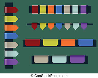 Website elements - Vector set of colorful webpage badges or...