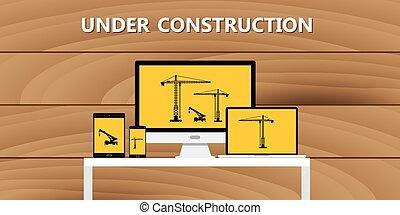 website, entwicklung, begriff, bauen, baugewerbe, unter