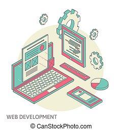 website, entwicklung, beweglich, schreibtisch, prozess,...