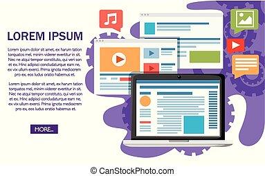 website, entwicklung, concept., wohnung, design, style., vektor, abbildung, weiß, hintergrund, mit, gears., website, seite, und, beweglich, app, design