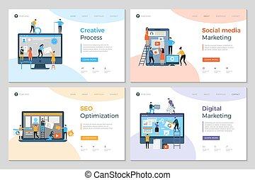 website, entwicklung, plan, geschaeftswelt, beweglich, agentur, landung, kreativ, pc, vektor, schablone, entwerfen, baugewerbe, seiten, advertizing, design.