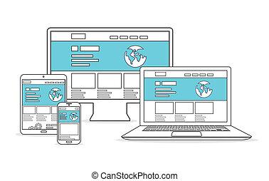 website, entwicklung, und, marketing, v