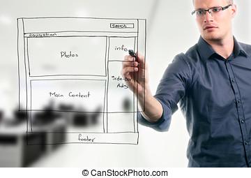 website, entwicklung, wireframe