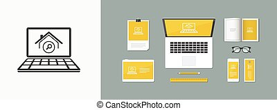 Website for find home - Vector computer application icon