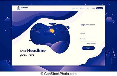 website, form, landgangen, vektor, konstruktion, skabelon, login, side