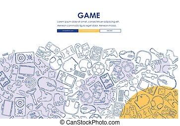 website, gaming, konstruktion, skabelon, doodle