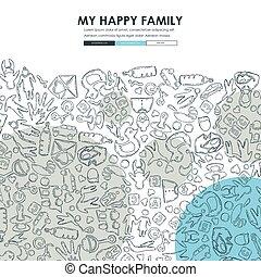 website, gekritzel, design, familie, schablone