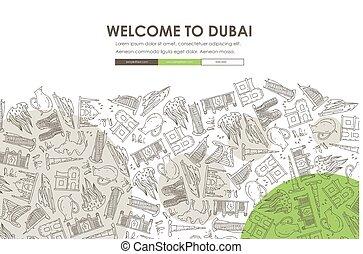 website, gekritzel, dubai, design, schablone