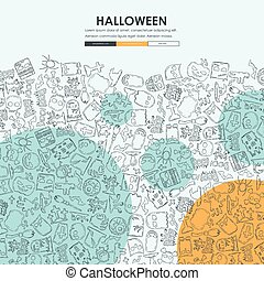 website, gekritzel, halloween, design, schablone