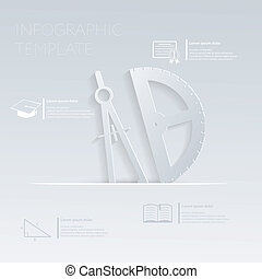 website, grafisch, opmaak, illustratie, kompas, vector, mal, protractor., of