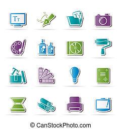 website, graphic tervezés, ikonok