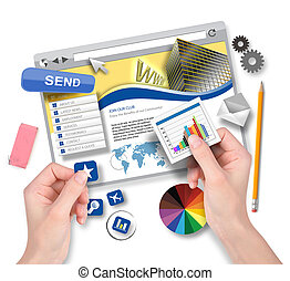 website, graphikdesigner, schaffen, schablone