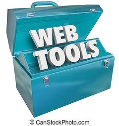website, háló, felszerelés, online, szerszámosláda, eszközök...