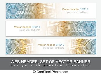 Website header or banner with abstract technological...
