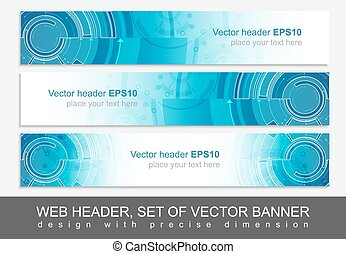 Website horizontal template with abstract vector header -...