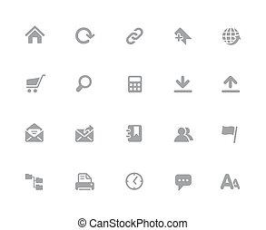 website, //, iconen, reeks, 32px, witte