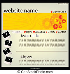 Website in orange colors, editable web layout, template