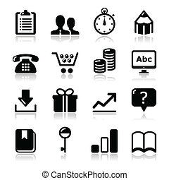 Modern application website black icons with shadows