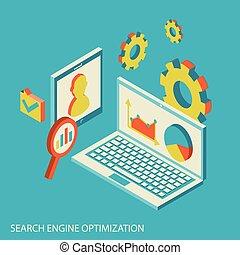 website, isometric, pojęcie, nowoczesny, analiza, analytics, projektować, seo, dane