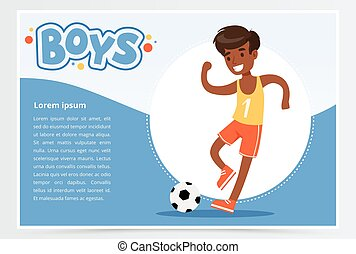 website, jongen, poster, plat, beweeglijk, spandoek, app, voetbal, plalying, reclame, blaadje, jongens, vector, reclame, afrikaan, het glimlachen, element, presentatie, of, informatieboekje