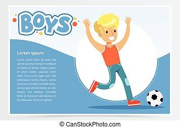 website, jongen, poster, plat, beweeglijk, spandoek, app, voetbal, plalying, reclame, blaadje, jongens, vector, reclame, het glimlachen, element, presentatie, of, informatieboekje