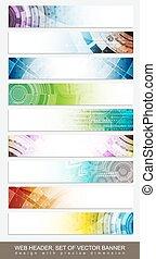 website, komplet, główki, barwny, próbka, abstrakcyjny, -, chorągwie