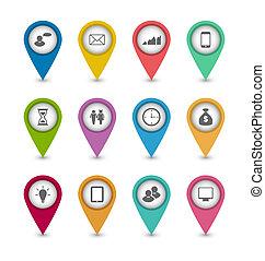 website, komplet, układ, handlowe ikony, projektować, infographics