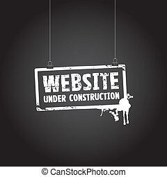 website, konstruktion under, tegn