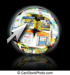 website, kursor, rewizja, strzała, internet