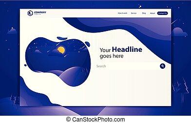 website, landgangen, vektor, konstruktion, skabelon, trendy, nye, side