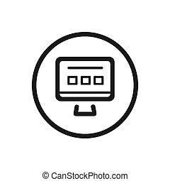 website, lijn, witte achtergrond, pictogram