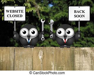 Website maintenance - Comical website maintenance closed...